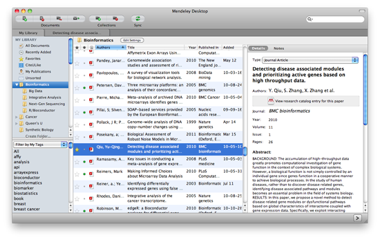 Mendeley Desktop screenshot with Bioinformatics folder selected