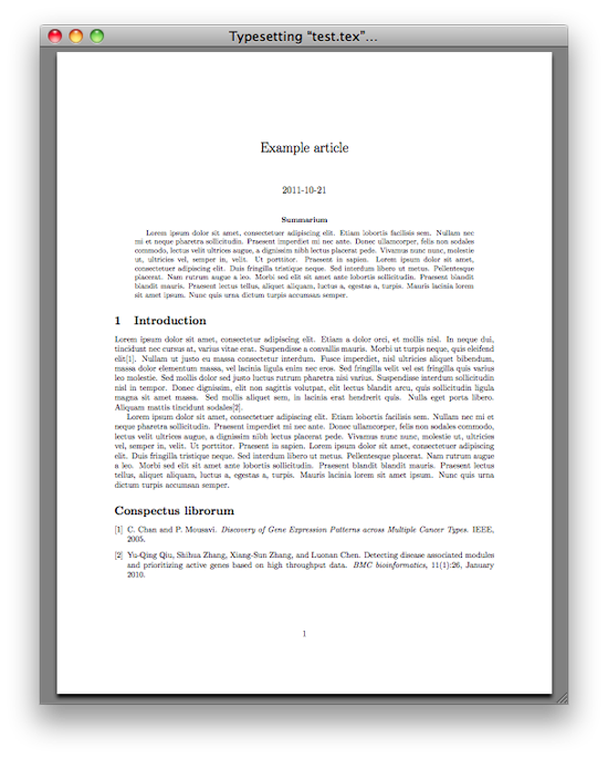 Generated example PDF article using LaTeX and BibTeX with Mendeley Desktop
