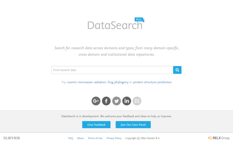 DataSearch homepage.