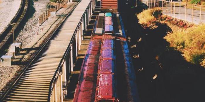 train rails and train running